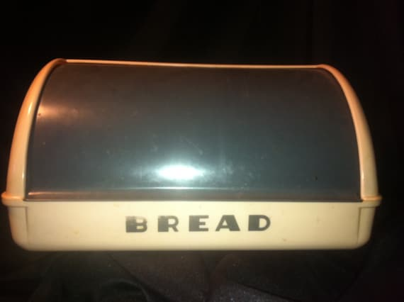 1950's LustroWare Pink and Charcoal Grey Breadbox