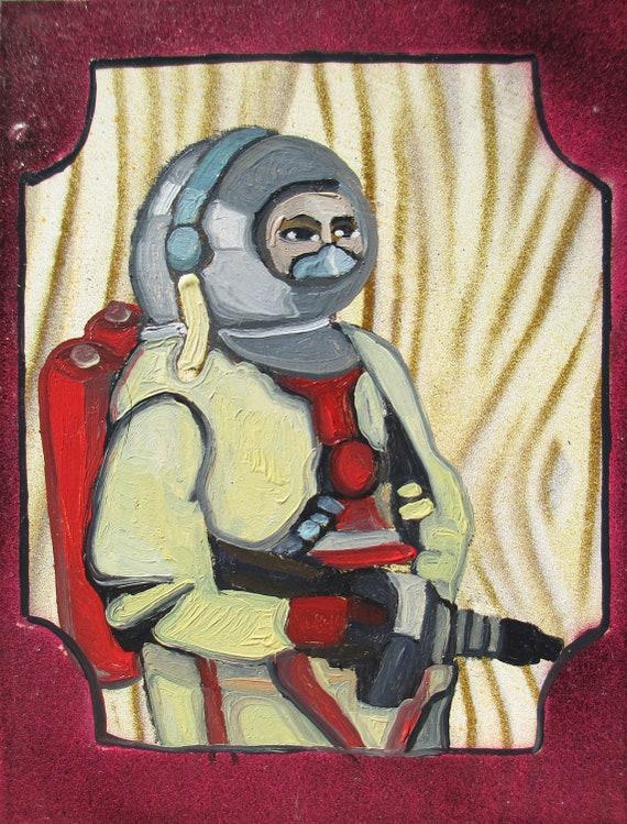 SciFi Painting - 1950s Spaceman Original Oil Miniature