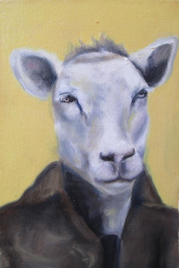 Sheep Portrait - Original Oil Painting