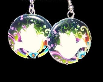 Heavenly Dove Dangle Disc Earrings