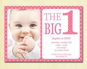 First Birthday Baby Girl Invitation - DIY Photo Printable Custom Invite - Pink Polka Dots - 1 year old - 1st Birthday