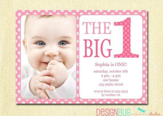 Außergewöhnlich Erster Geburtstag Baby Mädchen Einladung   DIY Foto Printable Custom Invite    Pink Polka Dots   1 Jahr Alt   1st Birthday