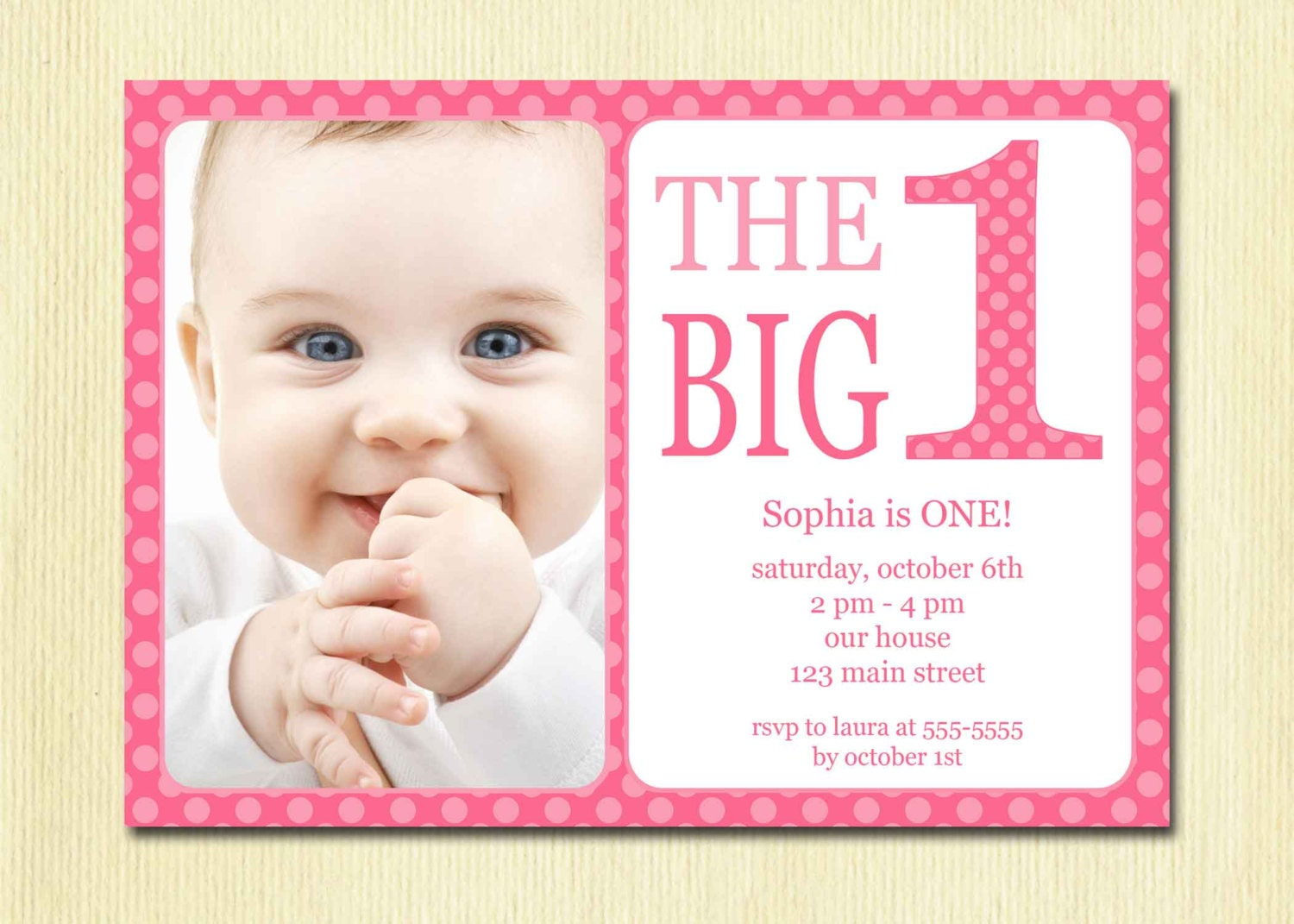 First Birthday Baby Girl Invitation DIY Photo Printable - Birthday invitation for one year baby