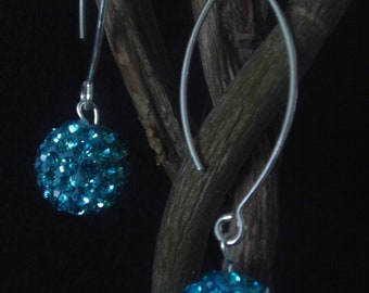 Swarovski disco ball earings - Lake Blue