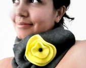 Charcoal Neckwarmer Cowl. Fashion Neckwarmer. Charcoal and Neon Green. Onyx accent. Fall Fashion.Winter accessories.