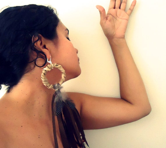 RESERVED. Bohemian Woodland Earrings. Suede Fringe and feather accent. Eco Friendly. Statement Jewelry. Fall Accessories.