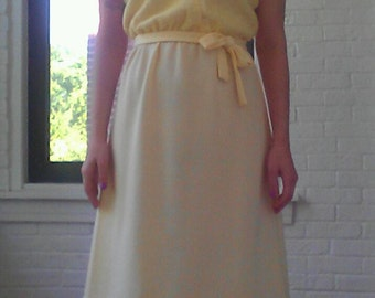 1970s Yellow Button Dress