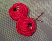SALE - Red Satin Rosette Flower Hair Pins - Set of Two - Hair Clips - Wedding, Special Occasion or Everyday Wear