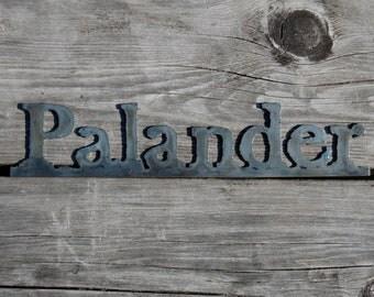 Custom Metal Word Art 'Palander'