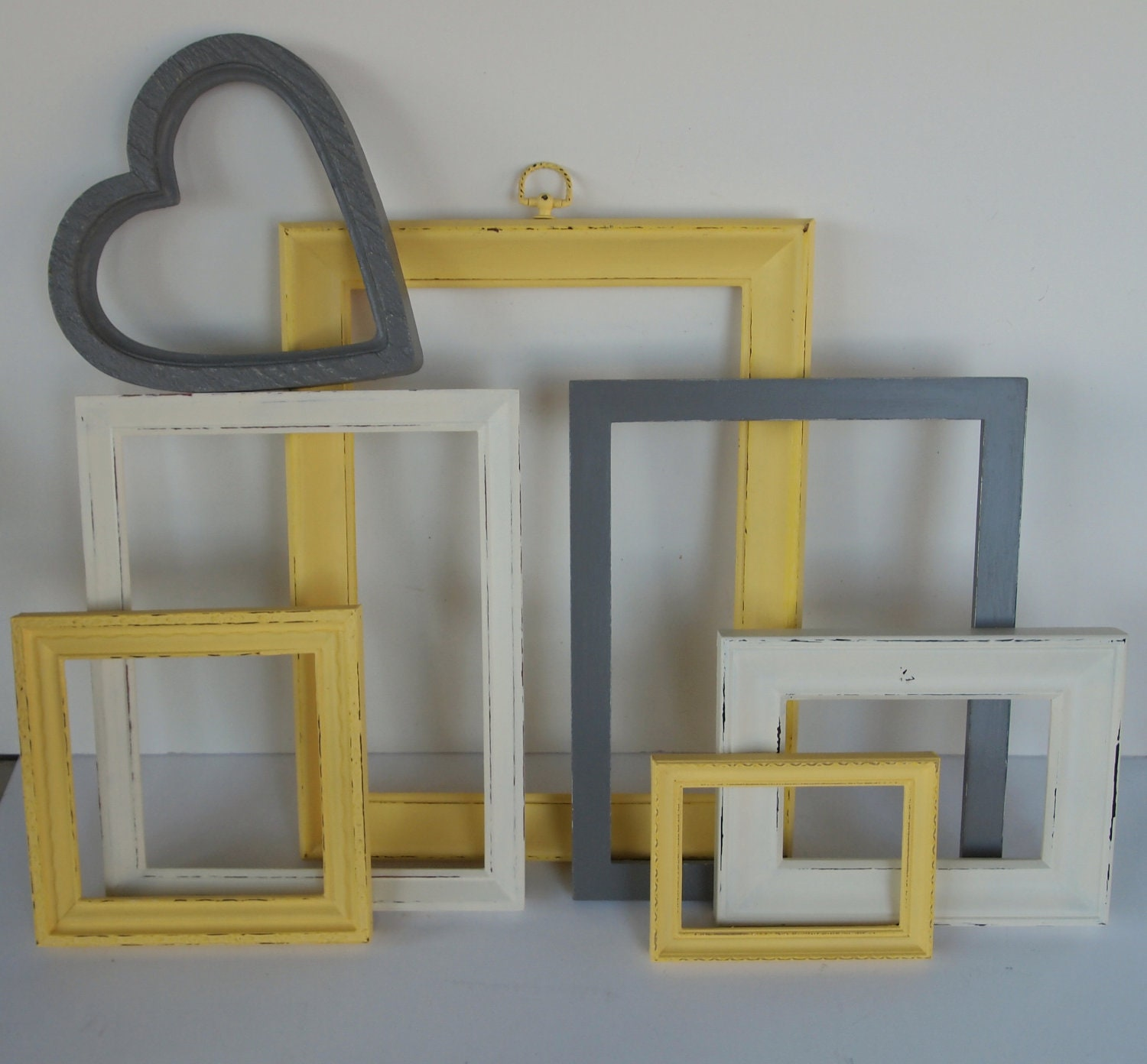picture frames yellow gray grey white vintage painted and. Black Bedroom Furniture Sets. Home Design Ideas