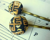 Vintage gold and black tribal fabric button hair pin
