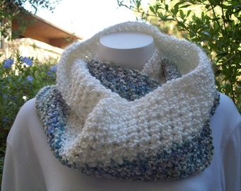Infinity Loop Scarf Circle Cowl Eternity   blues and white.    READY TO SHIP