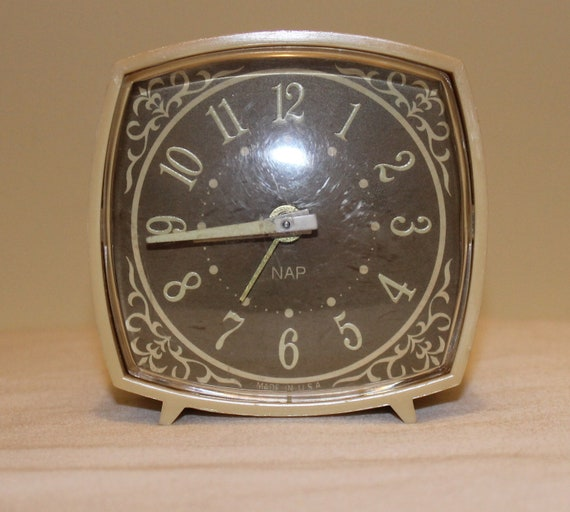 Vintage Alarm Clock With Glow In The Dark Numbers And Hands