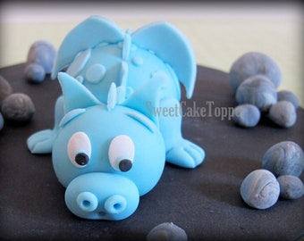 Dragon Cake Topper - Fondant Edible Handmade Cake Topper - 1 Set