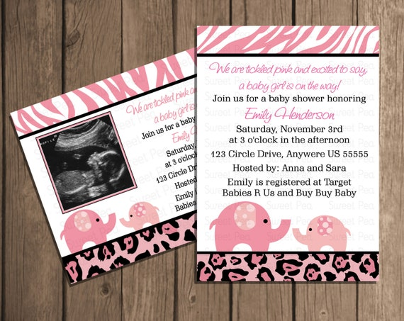 pink safari baby shower elephant girl baby shower invitation or thank