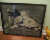 Vintage Art- Framed Print Cute Dog and Child- Antique Decor
