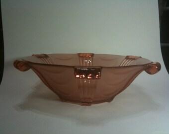 SALE Czechoslovakia Stolzle pressed glass bowl in peach / pink glass