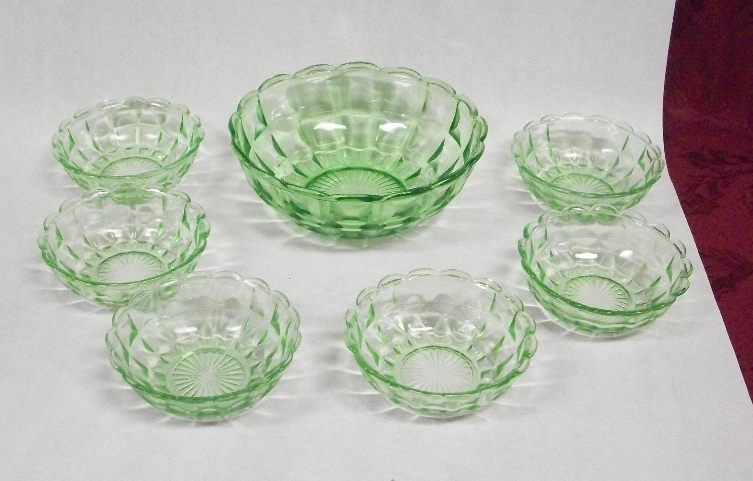 Green Depression Glass Berry Bowl Set by SusiesArtAndAntiques
