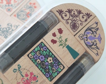 Vines and Twines Wooden Rubber Stamps Set 1 - Scrapbooking. Cardmaking. Tag. Weddings. Christmas. Flowers. Floral Borders