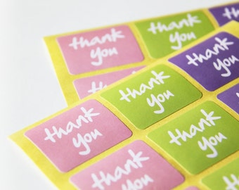 24 Rectangle Thank You Paper Sticker Labels. 3.8cm x 3.2cm. Pastel Pink. Purple. Green. Gift Wrapping. Merci. Weddings