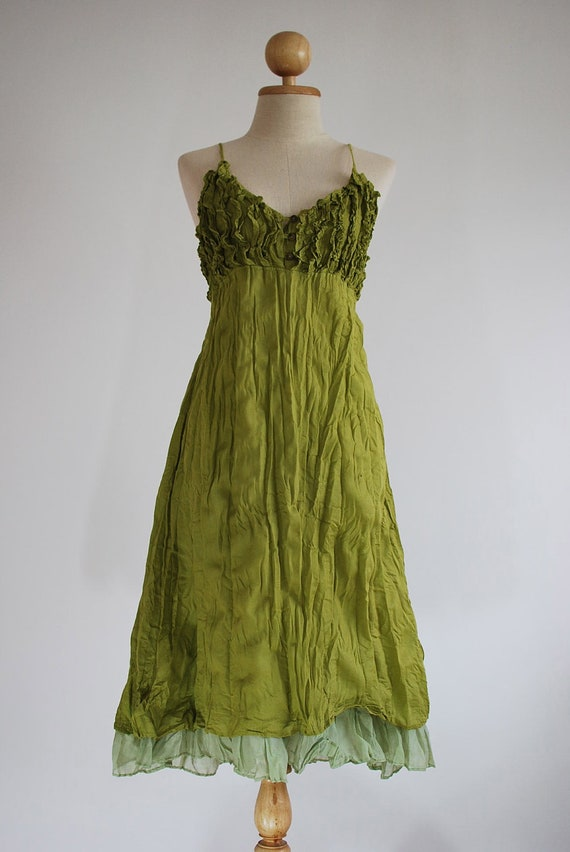 Double Layers Maxi Cotton Dress - Apple Green