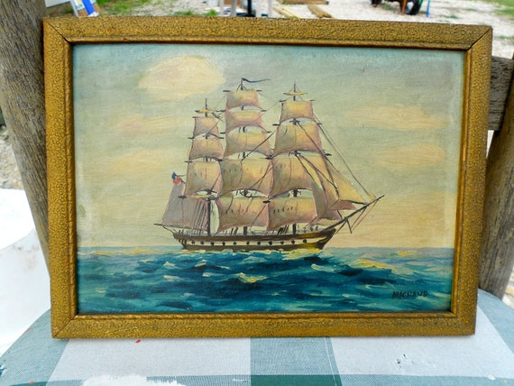 Sold sold Awesome old folk art painting of Old Ironsides. USS Constitution. Maritime folk art