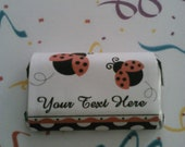 Lady Bug Custom Personalized Text Chocolate Candy Bar Wrapper  Hershey Minis Party Favor Labels Stickers