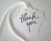 Thank You Tag, Stamped Tag, Gift Wrap, Favor, Scrapbooking, Hang Tag, Wine Bottle Tag, Black and White, Square Tag