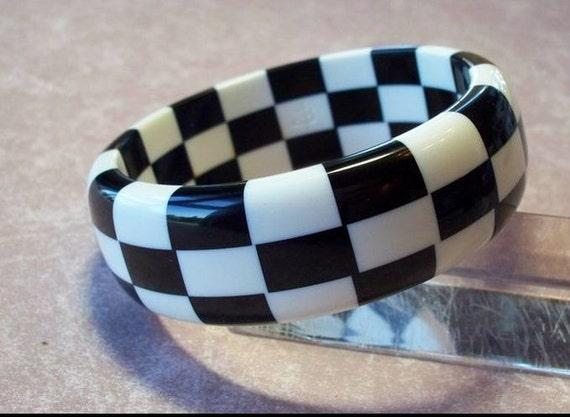 Contemporary Artisan Bakelite Utilizing Vintage Materials Checkerboard Bangle Bracelet