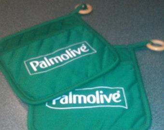 Vintage Set Of Green Pot Holders With Palmolive Logo