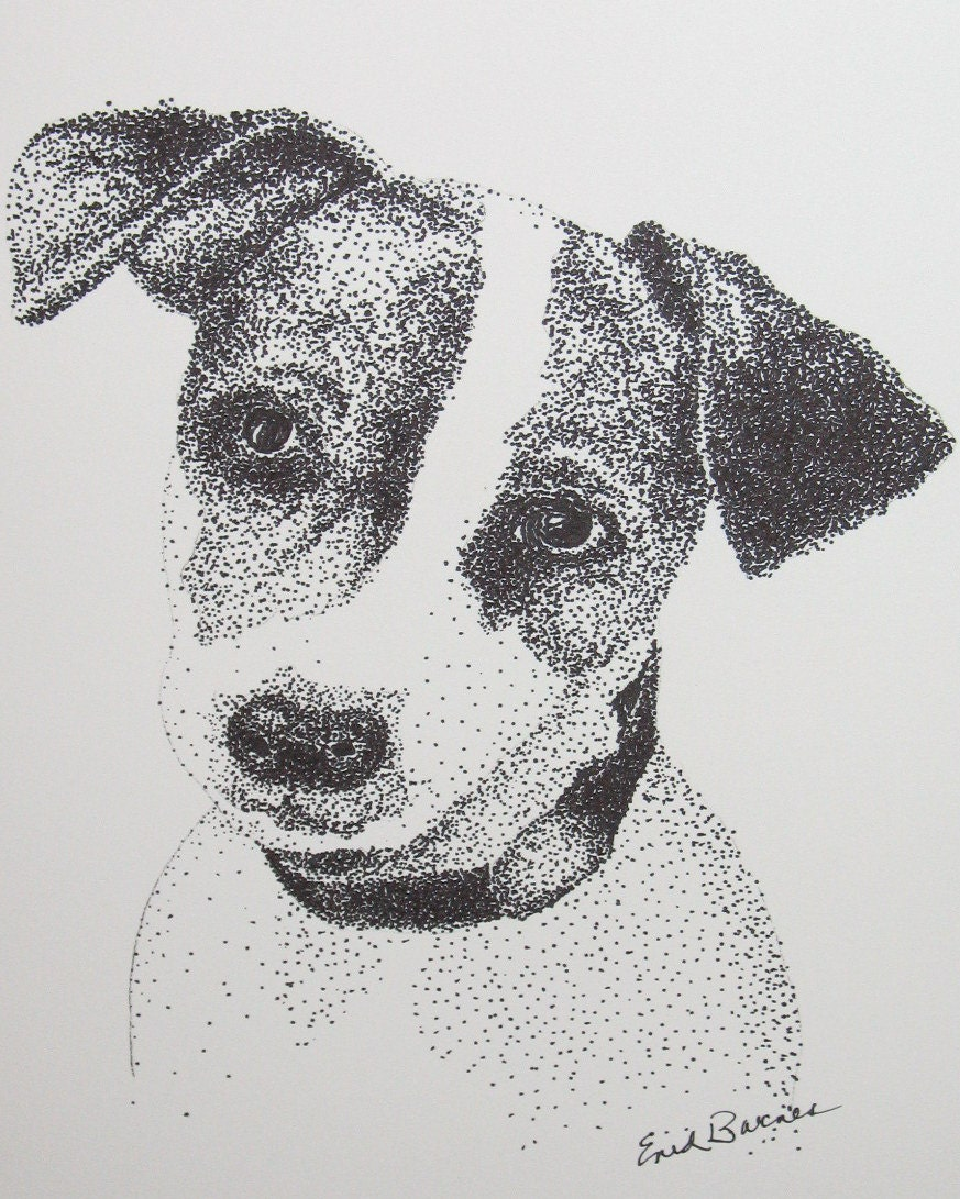 Jack Russell Original Pointillism Pen And Ink Drawing
