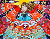 Mexican Folk Art Angel Decor.  Red Turquoise wall art. Psychedelic Fairy Poster. Trippy Pattern Skull Art Print.