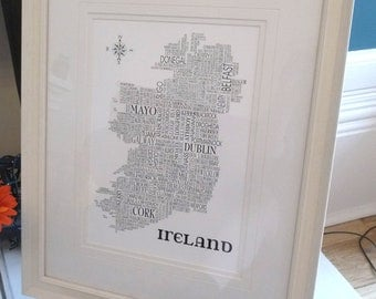 Irish Typographic Print - Sat Nav