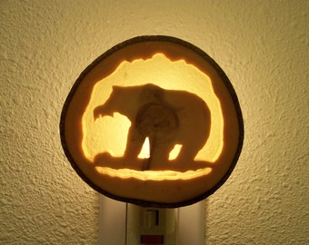 Grizzly Bear with Fish nightlight