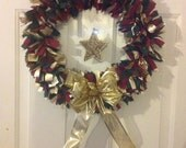 Cranberry, green, gold wreath