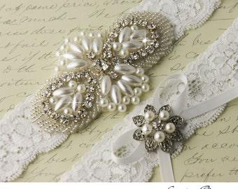 Wedding Garter, White Lace Garter, Rhinestone Bridal Garter, Pearl and Crystal Garter Set, Keepsake Garter, Toss Garter, Garters