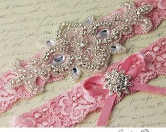 Bridal Garter Wedding Garter, Heirloom Keepsake and Toss Garter Set, Crystal Garters, Rhinestone Garters, Lace Garter Set