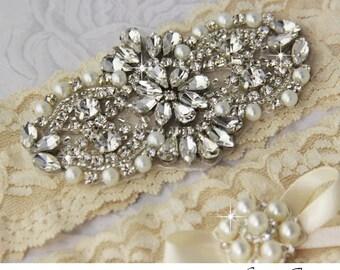 Bridal Garter Wedding Garter Set Stretch Lace Keepsake and Toss Garters, Rhinestone and Crystal garters, CHAMPAGNE color