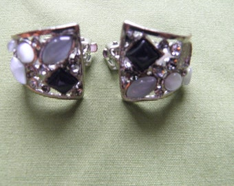 Clip Back Earrings with Stones