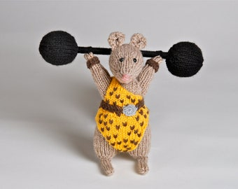 Handmade knitted plush Strongman mouse made to order and customizable