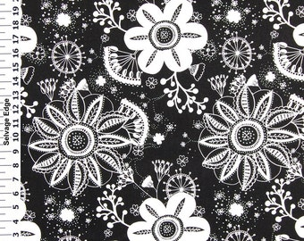 SALE - White Flowers on Black Cotton Home Dec Fabric - One Yard - 44 Inch Wide Home Decor Fabric