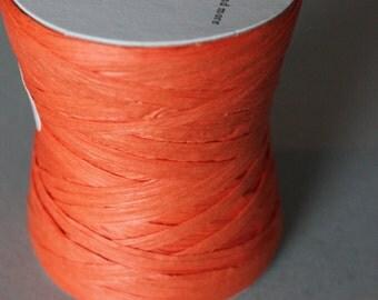 Orange Raffia:  100 yards, Raffia Ribbon, Paper Ribbon, Ribbon