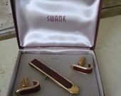 Vintage Swank Cuff links and Money clip  Leather and Brass Great Set