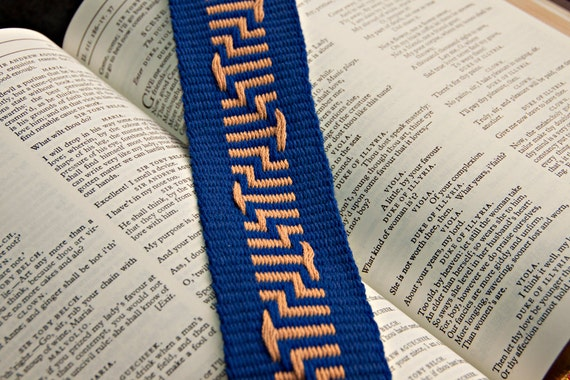 Blue and Tan Woven Bookmark