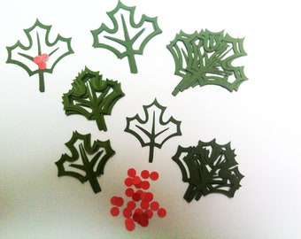 Holly Leaf Embellishments with Berries - (Set of 21)