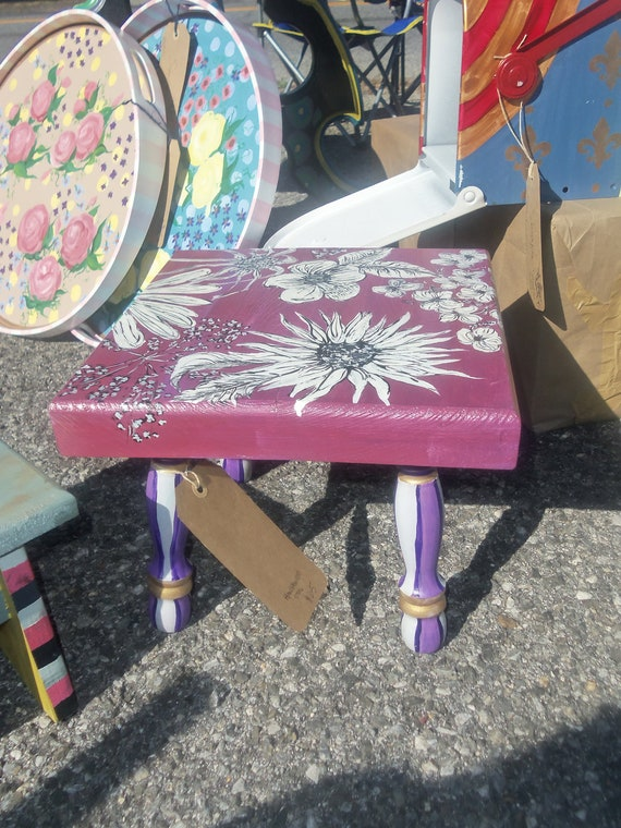 Hand Painted Childrens Stool Chair By Sydneyswork On Etsy