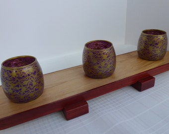 Hand Painted Purple and Gold Votive Candle Holders