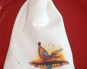 Pheasant Print Napkins in Cream