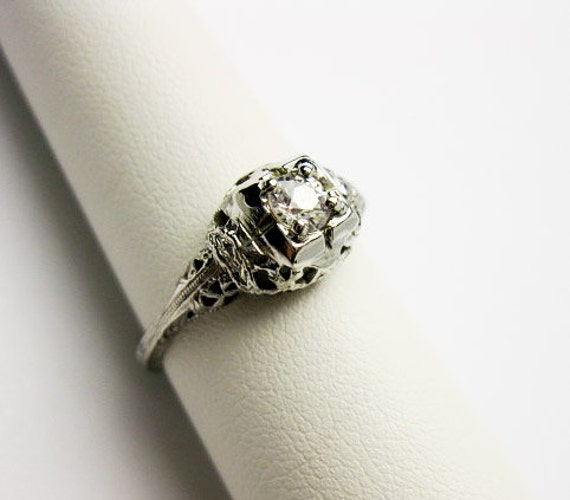 SOLD to (IRODDD) Filigree Art Deco, White Gold, 40point Diamond Ring, French, ca. 1920