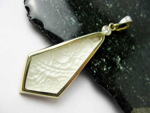 Hold for B....1930s Large Art Deco Frosted French Art Glass Pendant Set in 14K White Gold with Genuine Diamonds.